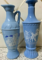 Two Blue Milk Glass Vase/Decanter Plato Aristotle Socrates