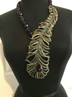 Heidi Daus NEW Pretty As A Peacock Crystal Amethyst Necklace BEAUTIFUL ELEGANCE!