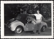 PROUD SPORTS CAR MAN & TINY 1948 CROSLEY HOT SHOT ~ 1950s VINTAGE PHOTO