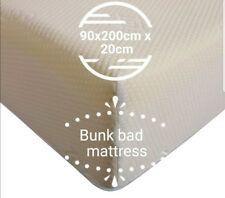 90 x 200cm x 20cm  BUNK BED REFLEX FOAM MATTRESS WITH ZIP COVER EASY TO & WASH