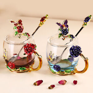 Enamel Color Glass Cup Rose Tea Cup Coffee Mug with Lid Spoon Milk Cup Water Cup