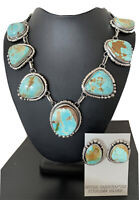 Stunning Necklace Navajo Pendant Sterling Silver Royston Turquoise Earrings01490