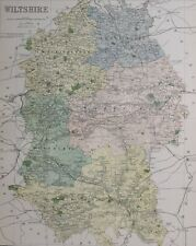 1889 COUNTY MAP WILTSHIRE WESTBURY CHIPPENHAM SWINDON WARMINSTER HEYTESBURY