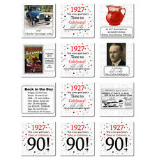 """Happy 90th Birthday (Age 90) """"1927"""" Party Supplies FUN FACTS DRINK COASTERS"""
