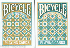 Madison 2 Deck Set Bicycle Playing Cards Gold Turquoise Poker Size USPCC Limited