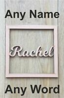 ANY NAME / WORD Personalised wooden name Square wreath - Loop Plaque