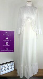 Stunning Vintage 1960's White Empire Line Wedding Dress Cape Overlay Size 10