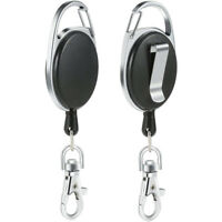 New Plastic Silver Retractable Key Chain Recoil Keyring Heavy Duty AU