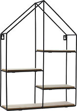 Design Wandregal Haus 50x35 cm - 4 Holz Ablagen - Metall Hängeregal Setzkasten