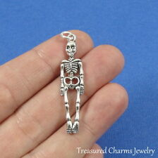 Silver Human Skeleton Charm - Halloween Skull and Bones Pendant NEW