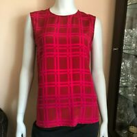 Diane Von Furstenberg Maroon Burgundy Geometric Print Silk Tank Blouse Sz Small