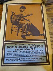 Doc & Merle Watson John Prine Rare 1975 Concert Poster Eugene,Oregon Lane Co vtg