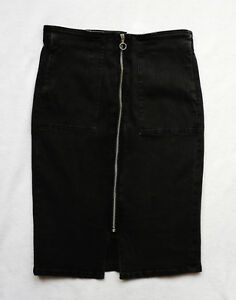 BNWT NEXT  black denim knee pencil skirt front Zip split pockets stretchy sexy