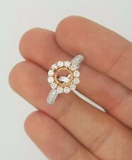 14K ROSE GOLD WHITE GOLD TWO TONE HALO DIAMOND ENGAGEMENT WEDDING RING SETTING