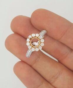 14K ROSE GOLD WHITE GOLD TWO TONE HALO DIAMOND ENGAGEMENT WEDDING RING SETTING