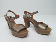35512946e7af49 WEEKEND by PEDRO MIRALLES GOLD LEATER HEELS Platform SANDALS Size WOMENS 37