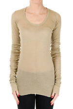 RICK OWENS LILIES New Woman Beige Long Sleeve Crewneck T-shirt Tee Size 40 ITA
