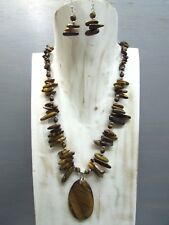 "16"" Tiger eye Chips Nugget Necklace with Pendant Free Earrings US seller"