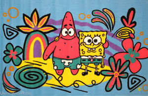 3x5 Area Rug Spongebob & Patrick Star SquarePants Cartoon Fun Time TV NEW