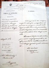 1883 LETTERA SINDACO DI NOVELLARA SU GIOVANE DI REGGIOLO RICHIAMATO ALLE ARMI