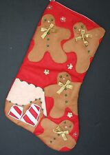 "Large 20 "" GINGERBREAD MEN  Applique Felt with Bead Christmas Stocking"