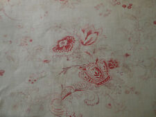 Antique French Faded Floral Urn Basket Fruit Cotton Fabric ~ Raspberry Eggplant