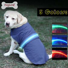 Waterproof Pet Dog Raincoat Rain Coat Jacket Fleece LED Reflective Vest Clothes