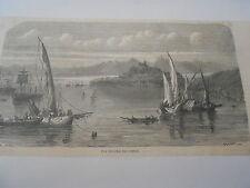 Gravure 1863  Vue de l'Ile de Corfou