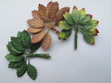 30 Miniature 9mm Rose leaves 3 SEASONS wire stem Mulberry Paper Doll house 1:12