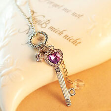 Fashion Women Purple Crystal Silver Crown Long Pendant Sweater Chain Necklace ~!