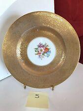 Royal Bavarian Hutschenreuther Selb 22K Gold Floral Dinner Cabinet Plate 5
