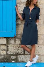 UK Womens Long Sleeve Loose Mini Dress Ladies V-neck Belted Shirt Dress 8-20