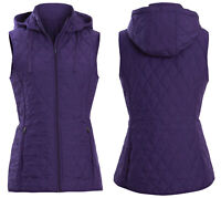 Ladies Quilted Gilet Womens Bodywarmer Ex Marks and Spencer Purple Winter Warm