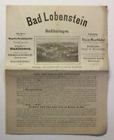 Original Prospekt Bad Lobenstein Thüringen Saaletal Moorbäder Kurort um 1890 xz