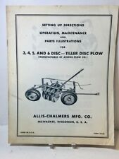 Allis Chalmers 3 4 5 Amp 6 Disc Tiller Plow Su Operation Maint Tm 82 Manual