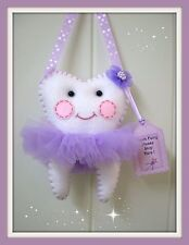 Tooth Fairy Pillow - Purple Ribbon- Handmade *Lost Tooth Goes In Back Pocket*