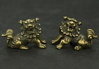 Pair Pure Brass Solid Lion Statue Lucky Chinese Fengshui Guardian Foo Fu Dog