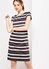 Sale! COMMA Kleid 36 S Etuikleid Taupe Grau Grey Streifen Elegant NEU UVP 129,99