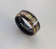 8MM TUNGSTEN CARBIDE MEN'S GOLD PLATED AND BLACK FINISH WEDDING BAND RING SZ7-15