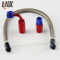 AN4 4-AN STAINLESS STEEL BRAIDED OIL/FUEL LINE HOSE+STRAIGHT+90° SWIVEL FITTING