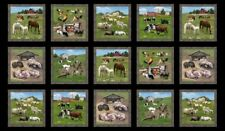 "23"" Fabric Panel - Elizabeth's Studio Farm Animal Rooster Pig Horse Blocks Black"
