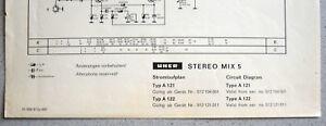 UHER Stereo-Mix 5 Typ A121 Schaltplan mit Schaltungserweiterung A122