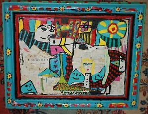 Mary Zeman Vintage signed Original Collage in Artist Blue Flowered Frame