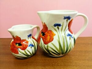 Nuova Ceramica Vicenza Poppy 2 Jugs - Made in Italy - Signed - Hand Decorated