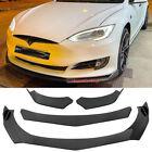 For Tesla 3 S X Y Model Carbon Fiber Front Bumper Lip Splitter Spoiler Black