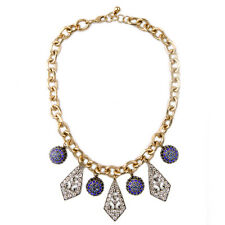 NEW Anthropologe Asteroid Purple Bead Medieval Rhinestone Gold Chain Necklace