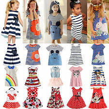 Kids Baby Girls Minnie Mouse Party Mini Dress Summer Vest Skirt Clothes 0-7Years