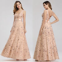 Ever-Pretty US Glitter Evening Dresses A-Line Floral V-Neck Party Cocktail Gowns