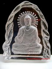 Original Rare Crystal Glass Sphatik white Hand-carved Sakyamuni Buddha Statue