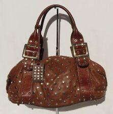 BE & D Cognac Brown Lambskin Leather Gold Studded GARBO Satchel Shoulder Bag EUC